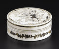 Decorative Arts, Continental:Other , A European Ivory Box. Possibly France. Ivory and silver. 2.25 in.diameter. With inset silver decoration, the top with m...
