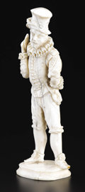 Decorative Arts, Continental:Other , A French Carved Ivory Figure. Unknown maker, possibly Dieppe,France. Nineteenth Century. Ivory. Unmarked. 7.75 in. high. ...