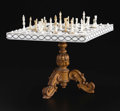 Decorative Arts, Continental:Other , An Anglo-Indian Chess Table and Set. Unknown maker, possiblyVizagapatam, India. Nineteenth Century. Ivory and wood. Unmar...(Total: 33 Items)