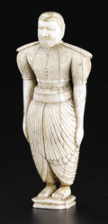 Decorative Arts, Continental:Other , An Indian Carved Ivory Figure. Unknown maker, India. NineteenthCentury. Ivory. Unmarked. 5.5 in.. Of an attendant or of...