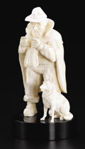 Decorative Arts, Continental:Other , A European Carved Ivory Figure. Unknown maker, Continental.Twentieth Century. Ivory and wood. Unmarked. 3.5 in. high. A...