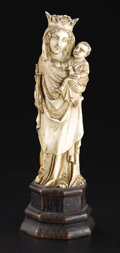 Decorative Arts, Continental:Other , A European Carved Ivory Figure. Unknown maker, Continental. Seventeenth Century. Ivory and wood. Unmarked. 5.62 in. high. ...