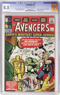 Silver Age (1956-1969):Superhero, The Avengers #1 (Marvel, 1963) CGC VF+ 8.5 Off-white to white pages....