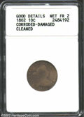 Early Dimes: , 1802 10C --Corroded, Damaged, Cleaned--ANACS. Good Details, ...