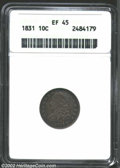 Bust Dimes: , 1831 10C XF45 ANACS. JR-3, R.1. Deeply toned throughout, ...