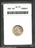 Bust Dimes: , 1835 10C AU53 ANACS. JR-1, R.1. Script 8 in date, and the ...