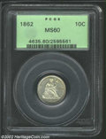 Seated Dimes: , 1862 10C MS60 PCGS. Mostly brilliant with bright, semi-...