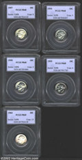 Proof Roosevelt Dimes, 1954 10C PR68 PCGS, the surfaces show watery reflectivity ...