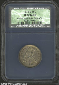 1858-S 25C XF Details, Environmental Damage NCS. Deep chocolate-brown patina, with a few unpleasant darker spots on the...