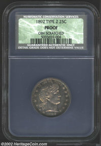 1892 25C Proof, Obverse Scratched NCS. Type Two Reverse. Deep golden-brown and violet patina. A pair of vertical pinscra...