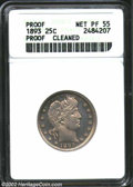 1893 25C --Cleaned--ANACS. Net PR55. A well struck example with slate-gray color. The obverse is only lightly cleaned, w...