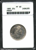 Proof Barber Quarters: , 1895 25C PR60 ANACS. A well struck but lightly hairlined ...
