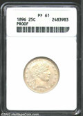 Proof Barber Quarters: , 1896 25C PR61 ANACS. The obverse is very dull but the ...