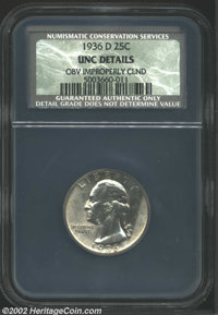 1936-D 25C Unc Details, Obverse Improperly Cleaned NCS. Brilliant and highly lustrous with pleasing eye appeal despite a...