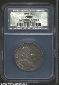 1907 50C Proof, Improperly Cleaned NCS. Murky maroon, blue-gray, and yellow-green patina. Somewhat harshly cleaned, and...