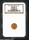Commemorative Gold: , 1917 G$1 McKinley MS64 NGC. Lustrous and brilliant with ...