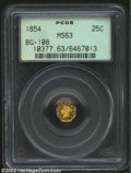 California Fractional Gold: , 1854 25C Liberty Octagonal 25 Cents, BG-108, R.5, MS63 PCGS....