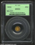 California Fractional Gold: , 1856 25C Liberty Octagonal 25 Cents, BG-111, R.4, MS63 PCGS....