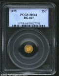 California Fractional Gold: , 1875 25C Indian Round 25 Cents, BG-847, R.5, MS64 PCGS. ...