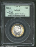 Coins of Hawaii: , 1883 25C Hawaii Quarter MS64 PCGS. Well struck and highly ...