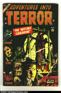 Golden Age (1938-1955):Horror, Adventures Into Terror #27 (Atlas, 1954) Condition: VG+. Fantastic Gene Colan cover of a man being winched down into the fla...