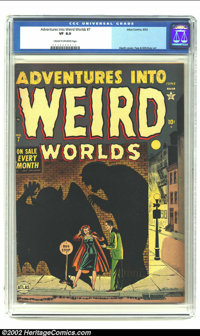 Adventures Into Weird Worlds #7 (Atlas, 1952) CGC VF 8.0 Cream to off-white pages. Tongue ripped out story. Interesting...
