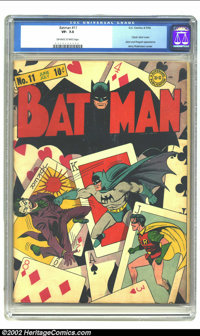 Batman #11 (DC, 1942) CGC VF- 7.5 Off-white to white pages. Classic Joker cover. Joker and Penguin appearance. Fred Ray/...