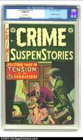 Golden Age (1938-1955):Crime, Crime SuspenStories #14 (EC, 1952) CGC VF/NM 9.0 Off-white pages. Cover artist Johnny Craig was a master at conveying more t...
