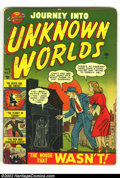 Golden Age (1938-1955):Horror, Journey into Unknown Worlds #7 (Atlas, 1951) Condition: VG.Pre-code horror comics are rarely found with nice gloss, but thi...