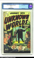 Golden Age (1938-1955):Horror, Journey into Unknown Worlds #30 (Atlas, 1954) CGC VF- 7.5 Off-whitepages. Cool pre-Code horror with a nice Joe Maneely cove...
