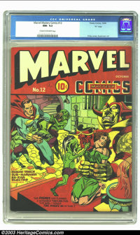 """Marvel Mystery Comics #12 D pedigree (Timely, 1940) CGC NM- 9.2 Cream to off-white pages. """"Headlight"""" cover by..."""