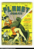 "Golden Age (1938-1955):Science Fiction, Planet Comics #20 (Fiction House, 1942). Looks VF/NM at firstglance, but there is a 1"" split at the top of the spine, and t..."