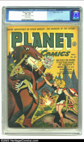 Golden Age (1938-1955):Science Fiction, Planet Comics #27 (Fiction House, 1943) CGC VF+ 8.5 Off-whitepages. Joe Doolin cover and art. Ingels and Elias art. CGC not...