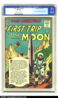 """Golden Age (1938-1955):Science Fiction, Space Adventures #20 (Charlton, 1956) CGC VF+ 8.5 Cream tooff-white pages. Fawcett's """"Destination Moon"""" reprinted. This is..."""