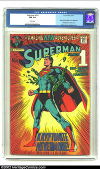 """Superman #233 (DC, 1971) CGC NM 9.4 White pages. Clark Kent becomes a TV newscaster. All Kryptonite """"destroyed""""..."""