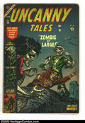 Silver Age (1956-1969):Horror, Uncanny Tales lot (Atlas, 1956). #16 GD/VG, #35 VG, #47 FN and #48FN-. Overstreet 2002 value for group = $150. From the c...(Total: 4 Comic Books Item)