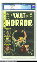 Golden Age (1938-1955):Horror, Vault of Horror #39 4/12 (EC, 1954) CGC NM/MT 9.8 White pages. Itis amazing that the dark green background to this bondage ...