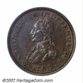 1783 1C Washington & Independence Cent, Large Military Bust MS62 Brown PCGS. Baker-4, R.1. Deep brown patina cov...
