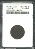 1793 1/2 C --Repaired, Tooled--ANACS. VF Details, Net VG8. B-2, C-2, R.3. A medium-brown example that has several length...