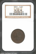 1810 1/2 C MS62 Brown NGC. B-1, C-1, R.2. Well struck in the centers and on the left side, while the right side legends...
