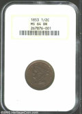 Half Cents: , 1853 1/2 C MS64 Brown NGC. B-1, C-1, R.1. A well struck ...
