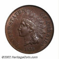 1873 1C Doubled LIBERTY AU55 ICG. Snow-1. This is an exceptionally attractive Indian Cent for the AU55 grade irrespectiv...