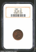 Indian Cents: , 1887 1C MS66 Red and Brown NGC. The rich copper-gold ...