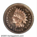 Proof Indian Cents: , 1864 1C Copper-Nickel PR65 Cameo PCGS. Delicate lilac ...