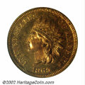 Proof Indian Cents: , 1865 1C PR65 Red NGC. This undeniably original Gem is ...