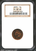 Proof Indian Cents: , 1879 1C PR65 Red NGC. Lightly spotted with nicely ...