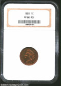 Proof Indian Cents: , 1893 1C PR66 Red NGC. The surfaces reveal rich orange-red ...