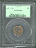 Lincoln Cents: , 1913-D 1C MS65 Red PCGS. Nearly mark-free and fully-...