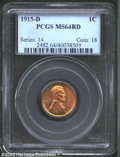1915-D 1C MS64 Red PCGS. The strike is near-flawless and the surfaces display bright orange-gold patina with a matte-lik...