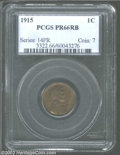 1915 1C PR66 Red and Brown PCGS. The dusky olive and gold color is undeniably original. A glorious matte proof Cent that...